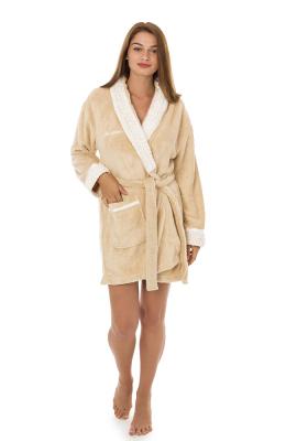 Анна Кристина халат женский на запах короткий карманы пояс софт 8065