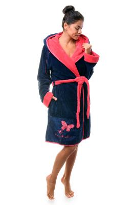 Анна Кристина халат женский на запах короткий капюшон карманы пояс софт 8025-1