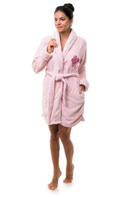 Анна Кристина халат женский на запах короткий карманы пояс софт 9072